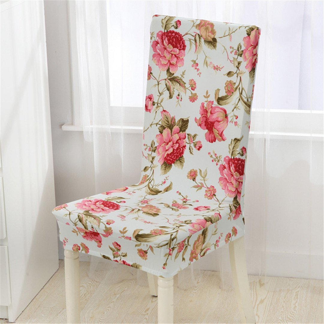 Chair Cover Floral Printing Birds&Flowers Elastic Multifunctional Spandex Elastic Dining Room For Modern Kitchen Table Chair color 19 universal sizes