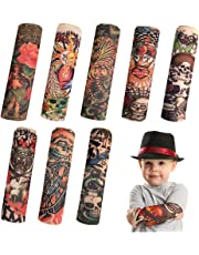 8 PCS Tattoo Sleeve for Kids, Arts Fake Slip on Arm Sunscreen Sleeves,UV Sun Protection Cooling Arm Sleeves for Kid Child Baby