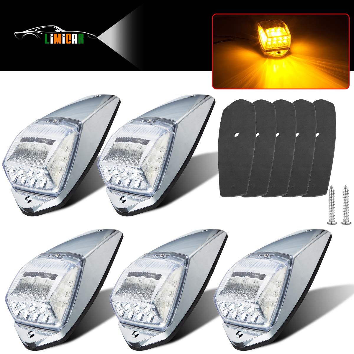 LIMICAR 5X Clear Lens 17 LED Amber Top Roof Running Lights with Chrome Base for Truck Peterbilt Kenworth Freightliner Mack Volvo Autocar Hayes International Paccar Western Star Mack Trailer Top Clearance Roof Running Lights