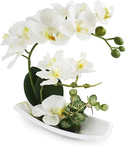 Amazon Com Livilan Artificial Orchids Arrangements For Decoration Silk Fake Flowers For Table Centerpiece Home Decor Office Wedding Vivid Home Kitchen
