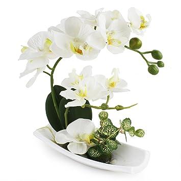 Livilan Artificial Orchid Flower Arrangements With White Porcelain Vase Artificial Bonsai Centerpiece Decoration Plastic Flowers Realistic Lifelike