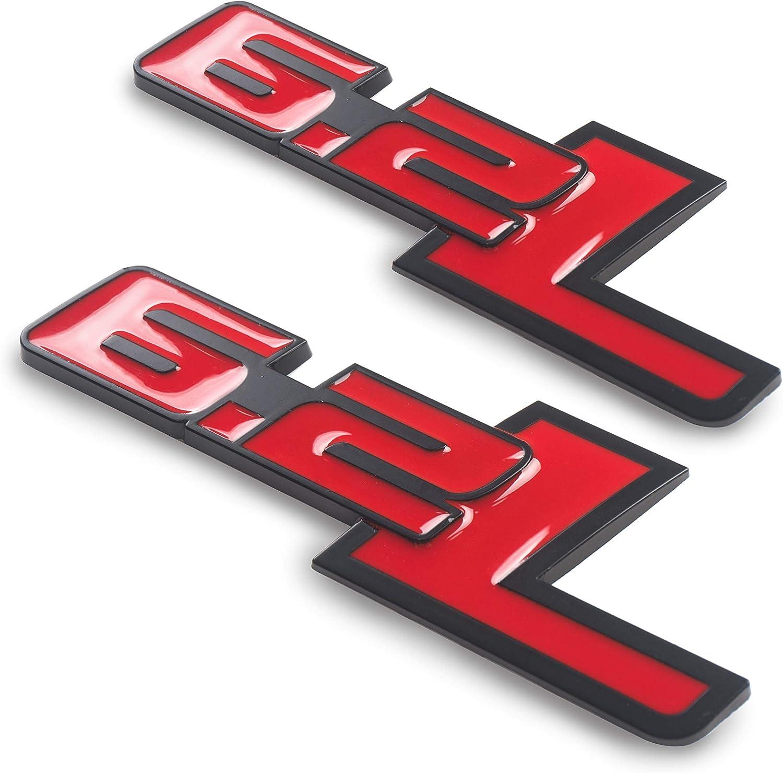 2pcs 6.2L Logo Red 3D Metal Chromed Car Auto SUV Emblem Badge Decal Sticker