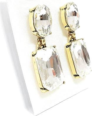 BRANDELIA Pendientes de Cristal Swarovski 24K Baño de Oro, Hecho a Mano en España. Blanco Brillo: Amazon.es: Joyería