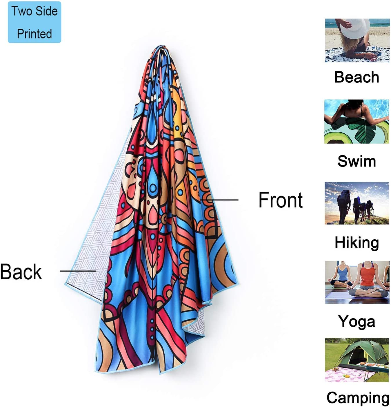 Lightweight Quick Dry for Swim Pool Outdoors Sand Free Beach Mat Camping Water Sports NovForth Microfiber Beach Towel Oversized Camping 63x31 Compact Beach Blanket Travel