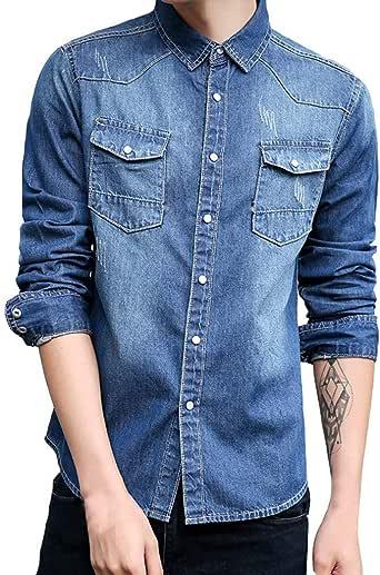 Sencillo Vida Camisa Casual para Hombre Manga Larga Western Shirt Camisas de Hombre de Vestir Slim Fit Camisa Hombres Clásico Cuello de Solapa con Botones Camiseta Básica para Hombre: Amazon.es: Ropa y