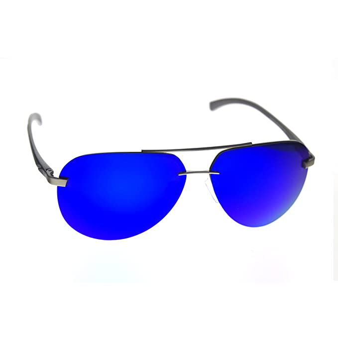 c5ef3dfea7843 Zacway Polarized Spring Hinges Metal Rimless Aviator Oversized Sunglasses  For Men Women UV400 63mm (Blue