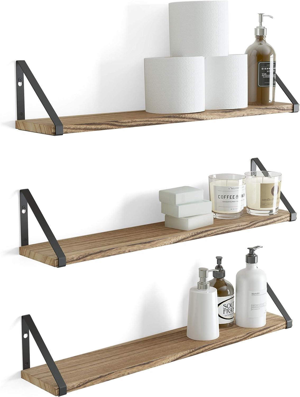 Wallniture Ponza Floating Shelves for Wall Decor, Bathroom Organizer Set of 3, Natural Burned Rustic Wood Shelf with Metal Brackets