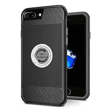 iPhone 7 Plus Funda, SPARIN La rotación de 360 grados, TPU+PC iPhone 7 Plus Funda con anillo [el dedo agarre anillo] [resistente] ...