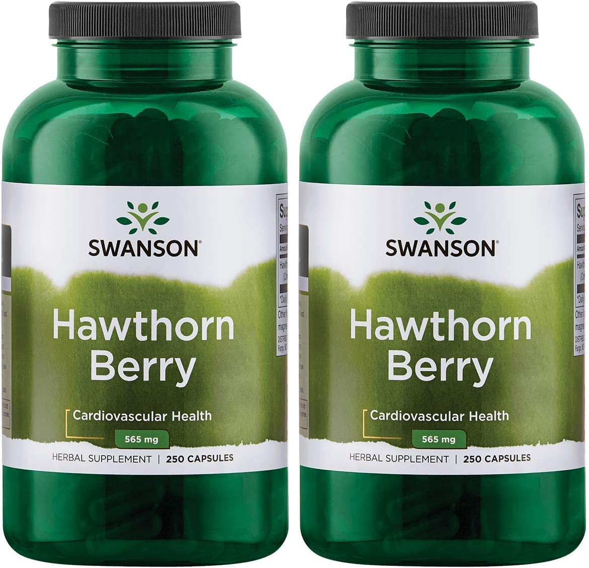 Swanson Hawthorn Berries Heart Nutrition Supplement 565 mg 250 Capsules 2 Pack