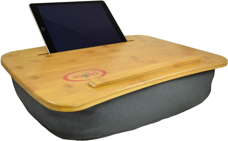 "Yogibo Set of 5 Gray Bamboo Laptop Tray with Pillow 18.5"""