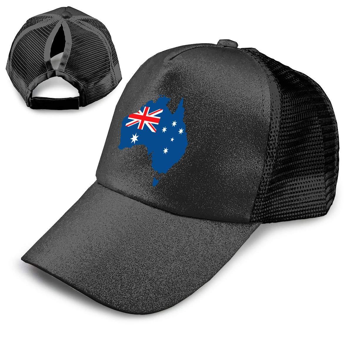 7daffac82 Amazon.com: Australia Pride Ponytail Hats for Women Messy Trucker ...