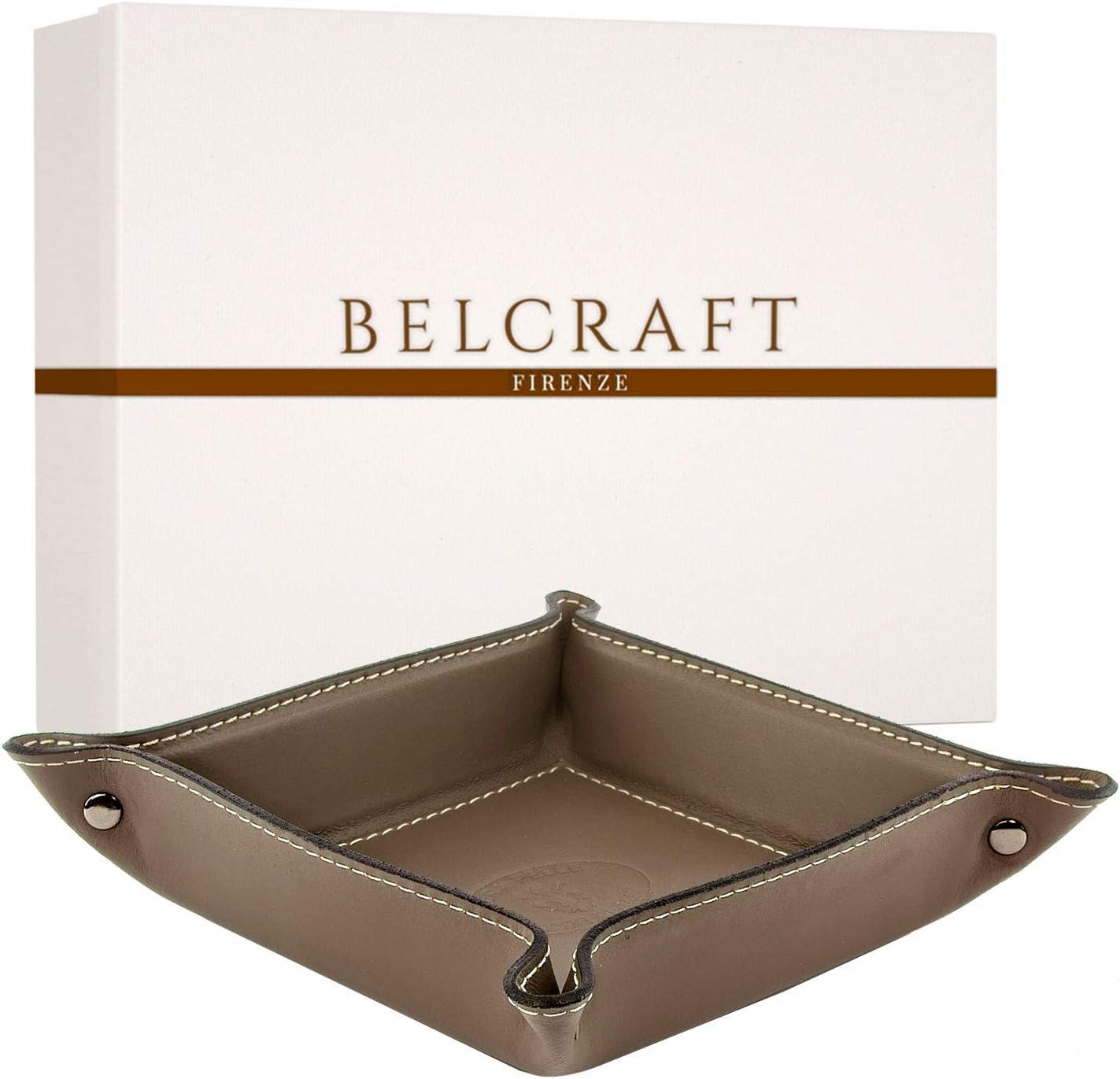 Belcraft Orvieto Vaciabolsillos de Piel Italiana Gris Topo Incluye Caja Hecho a Mano 19x19 cm