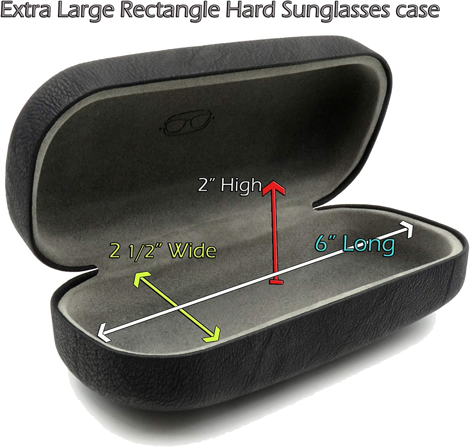 MyEyeglassCase Hard Sunglasses Cases for Large to oversized frames with cleaning cloth