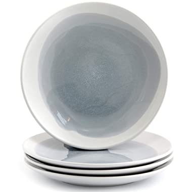 American Atelier 6702-4S Salad Plates 7.75  Oasis Blue/Gray Set of 4 Round Ceramic - Dishwasher & Microwave Safe, Ideal for Everyday Use