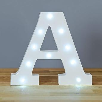 Up in Lights Signe d/écoratif de lettres en bois blanc de LED Tenture murale /à piles Lettre D