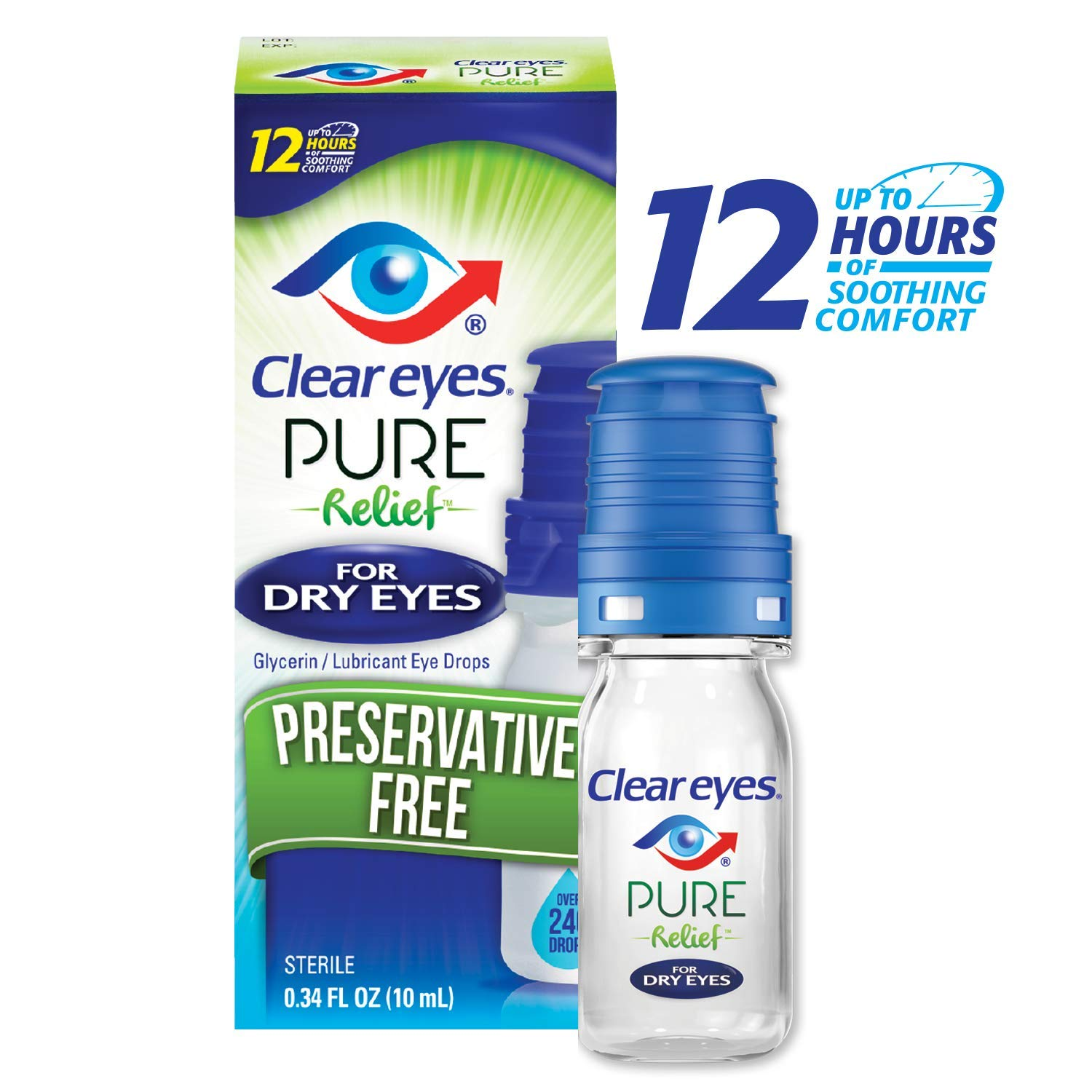 Clear Eyes Pure Relief for Dry Eyes | Preservative-Free | Patented Built-in Purifying Filter | 0.34 Ounce