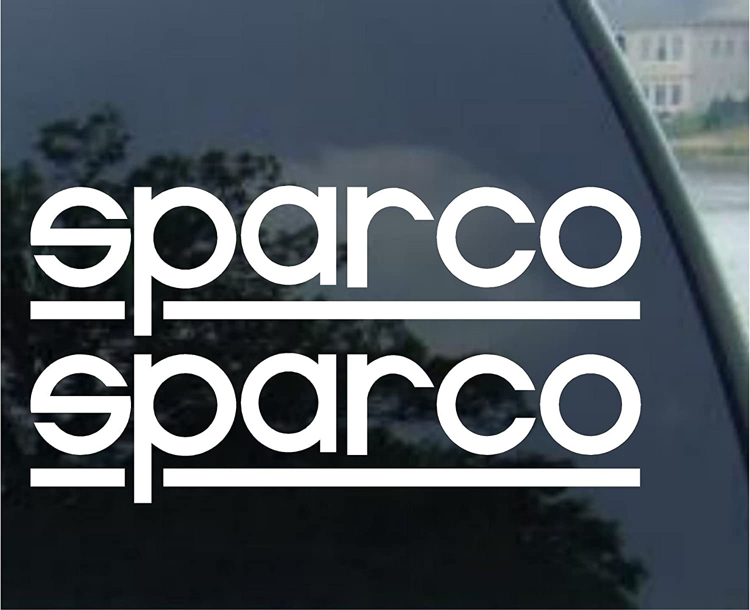 Sparco racing decal sticker new white x 2 amazon ca tools home improvement