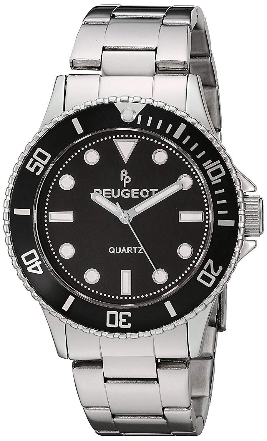 Peugeot Men s Sports Watch with Rotating Bezel Pro Diver and Stainless Steel Bracelet