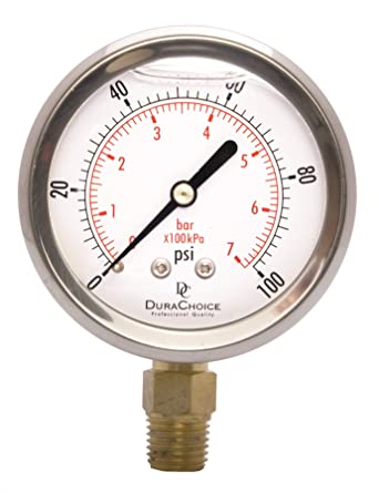 Lower Mount Connection 0-100PSI 2-1//2 Oil Filled Pressure Gauge Brass 1//4 NPT Stainless Steel Case
