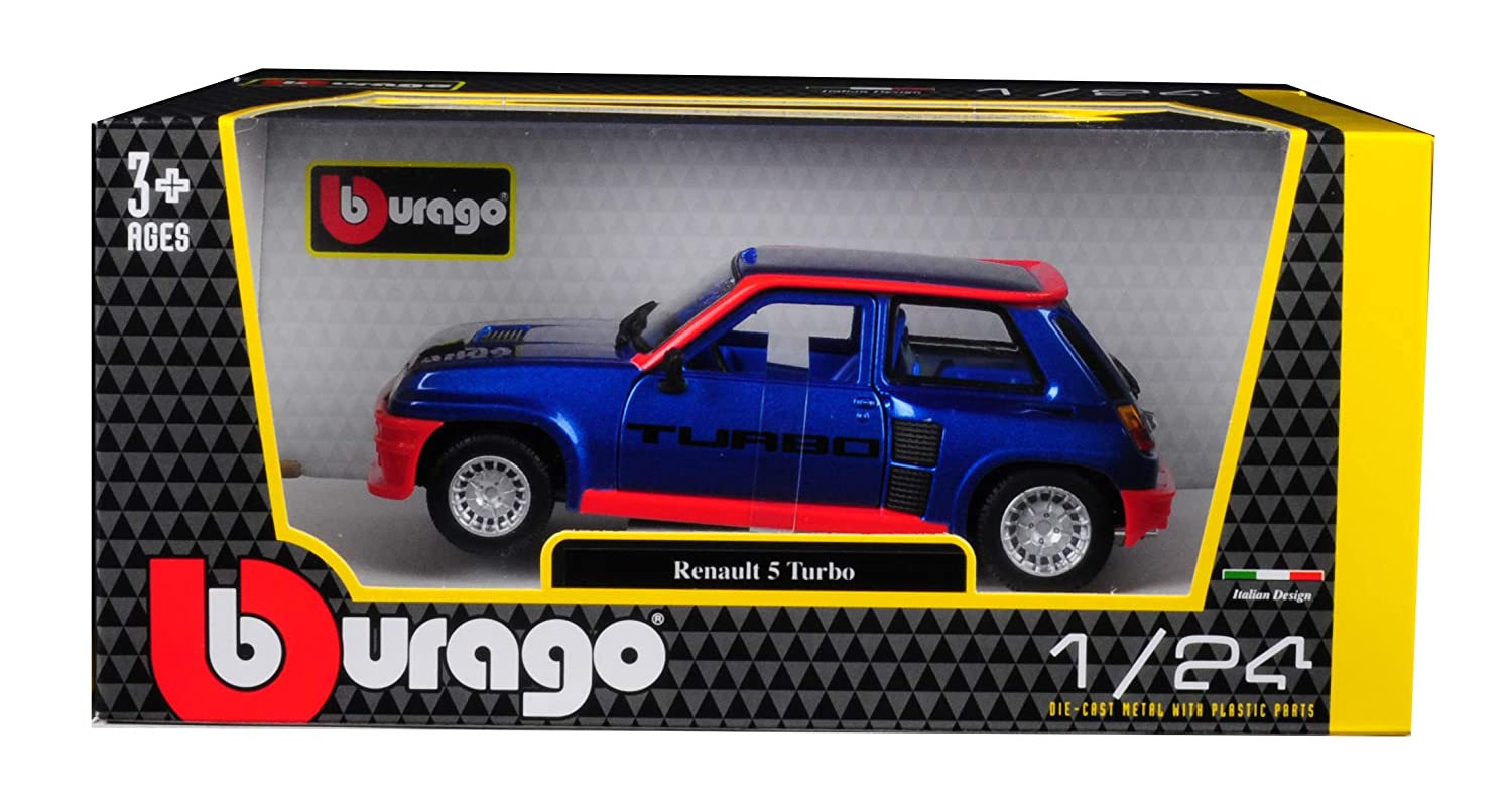 Amazon.com: Renault 5 Turbo Metallic Blue Red Accents 1/24 Diecast Model Car Bburago 21088: Toys & Games