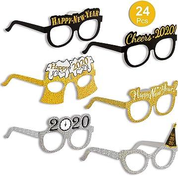 9er Pack Amosfun Frohes Neues Jahr Brillen Fancy New Year Party Brille Feier Mitbringsel f/ür 2020 Silvester Party Dekore