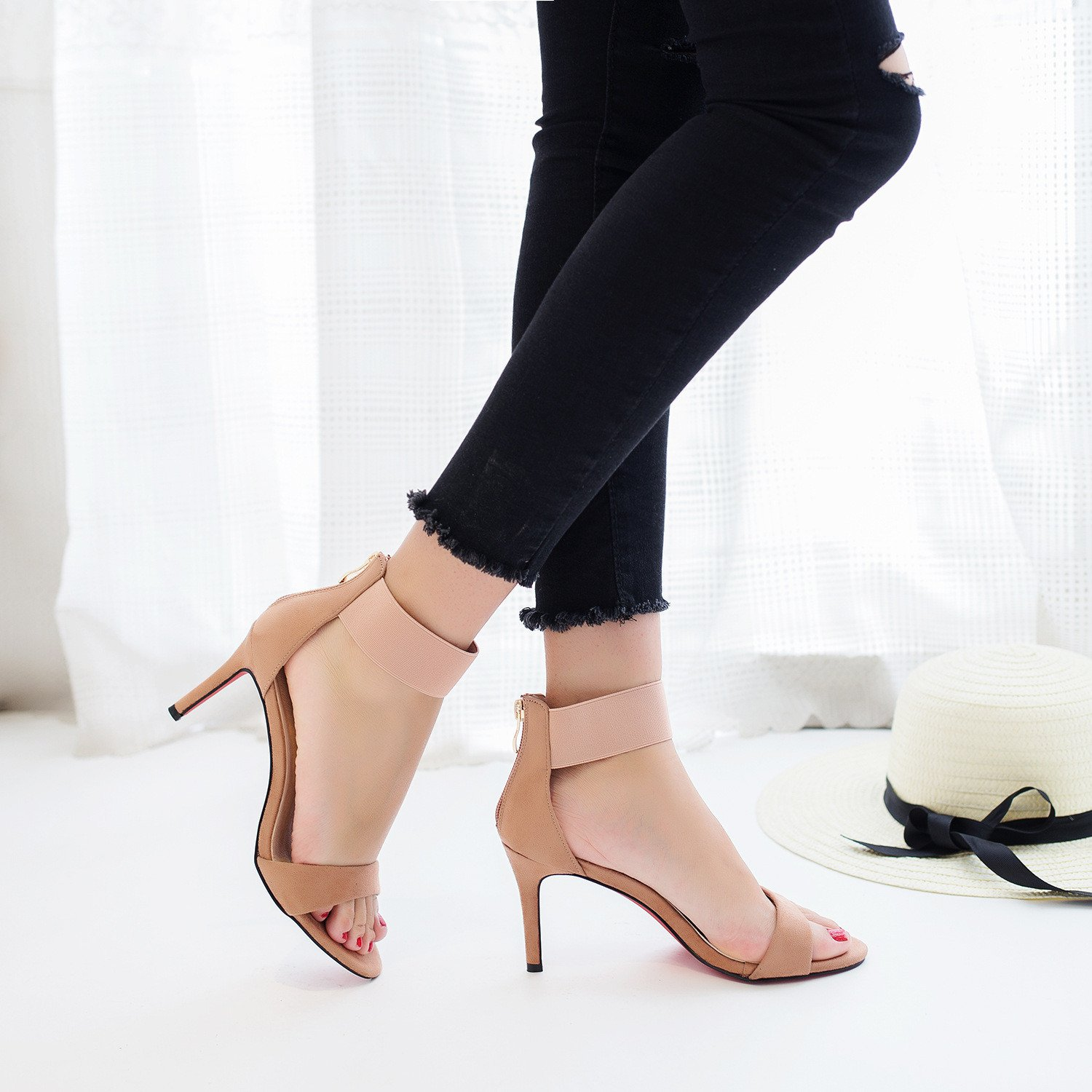 High-heeled sandals with high-heeled sandals women fine with velvet open toe, pink, 35 by YLSZ-High heels (Image #2)