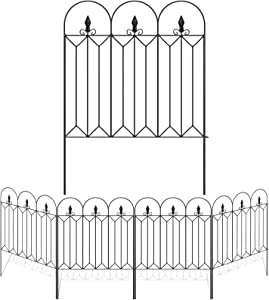 Amagabeli Garden Fence 32inx10ft Outdoor Decorative Fencing Landscape Wire Fencing Folding Wire Patio Border Edge Section Fences Flower Bed Animal Barrier Décor Picket Black Rustproof Panels Wire FC04
