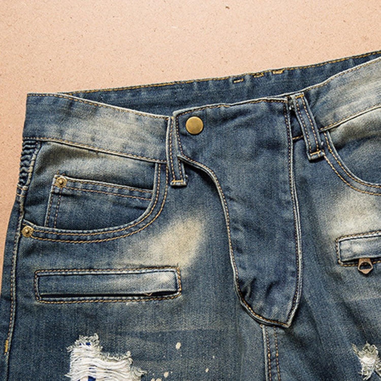 Wenyujh Herren Jeanshose Jeans Denim Hose Freizeithose Radfahren Retro Jeans  mit Loch Slim Fit: Amazon.de: Bekleidung