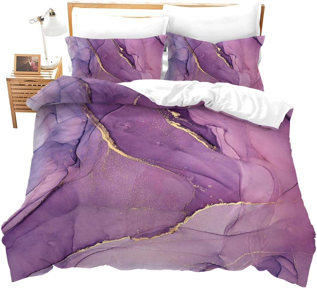 Purple Marble Duvet Cover King Kids Girls Pink and Gold Marble Printed Bedding Sets Adults Women Modern Quilt Abstract Organic Luxury Soft Lightweight Comforter Covers Chic Rainbow Quicksand Marble
