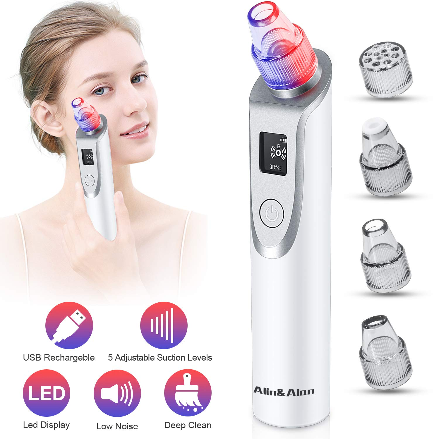 Blackhead Remover Vacuum - Pore Cleaner Electric Blackhead Suction Facial Comedo Acne Extractor Tool for Women & Men by Alin&Alan