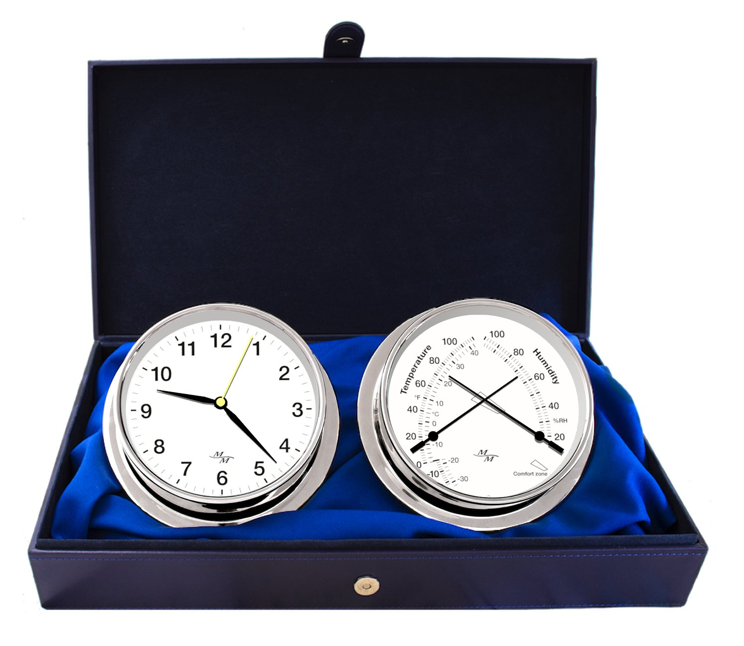 Master-Mariner First Light Collection, Nautical Cabin Gift Set, 5.75'' Diameter Clock and Comfort Meter Instruments, Chrome Finish, Classic White dial