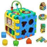 Cube d'activité | 6 en 1 Centre de jeu polyvalent pour les enfants en bas âge forme trieuse de couleur perles Maze temps apprentissage horloge amélioration des compétences jeu éducatif jouets occupé étudiant cube