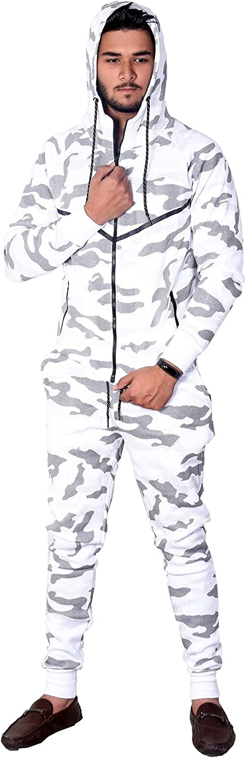 mymixtrendz Mens Autumn Winter Camo Camouflage Print Zip Up Hooded Casual Sports Slim Fit Fleece Tracksuit Top Hoody Joggers Bottoms