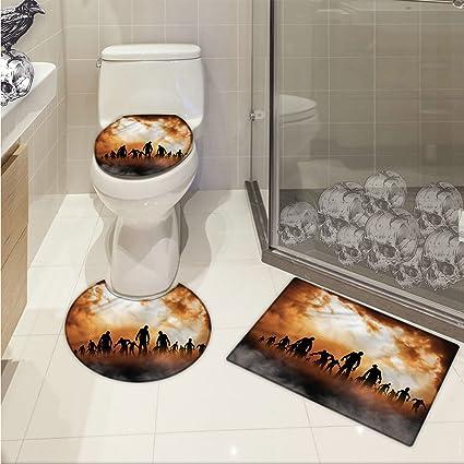 . Amazon com  jwchijimwyc Halloween 3 Piece Bathroom Rug Set Zombies