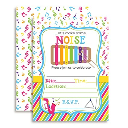Amazon lets make some noise musical xylophone themed birthday lets make some noise musical xylophone themed birthday party celebration fill in invitations set of 10 filmwisefo