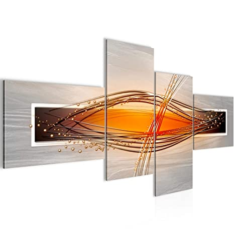 Bilder abstrakt Wandbild 150 x 60 cm Vlies - Leinwand Bild XXL Format  Wandbilder Wohnzimmer Wohnung Deko Kunstdrucke Weiß 4 Teilig - Made IN  Germany - ...