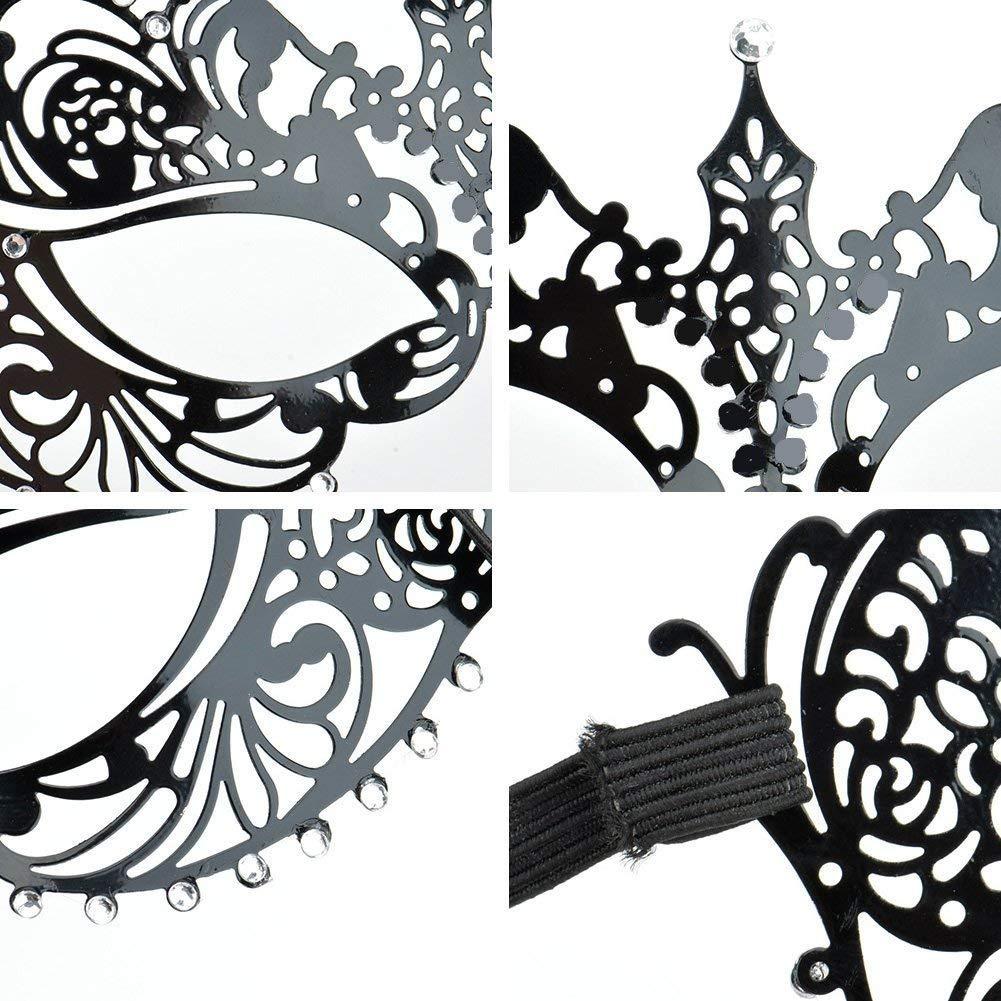 Venetian Masquerade Mask Womens Black Metal Masks for Masquerade Party BLACK4