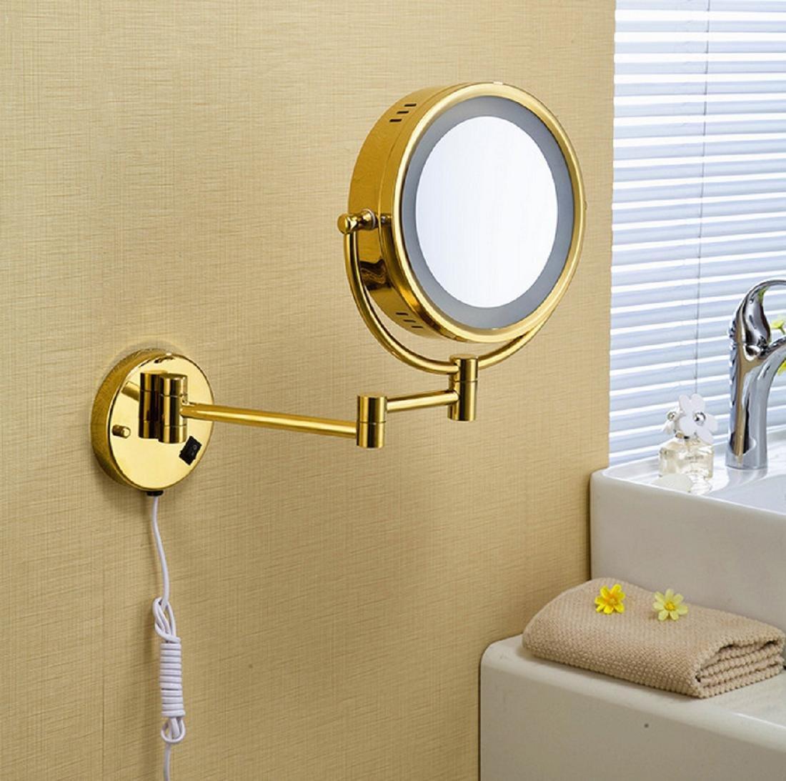 GAOJIAN Bath Mirror 8'' Round Wall Cosmetic Mirrors 3x 1x Magnifying Mirrors LED Brass Golden Folding Bathroom Makeup Light Mirror
