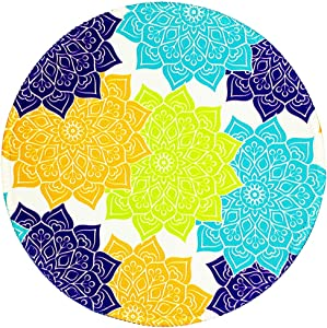 BOSOBO Mouse Pad, Round Mandala Mouse Mat, Small Circular Mousepad with Designs, Non-Slip Rubber Print Mouse Mat with Stitched Edges, Cue Office Mouse Pad for Women and Girls, 7.9 x 7.9 Inch, Yellow