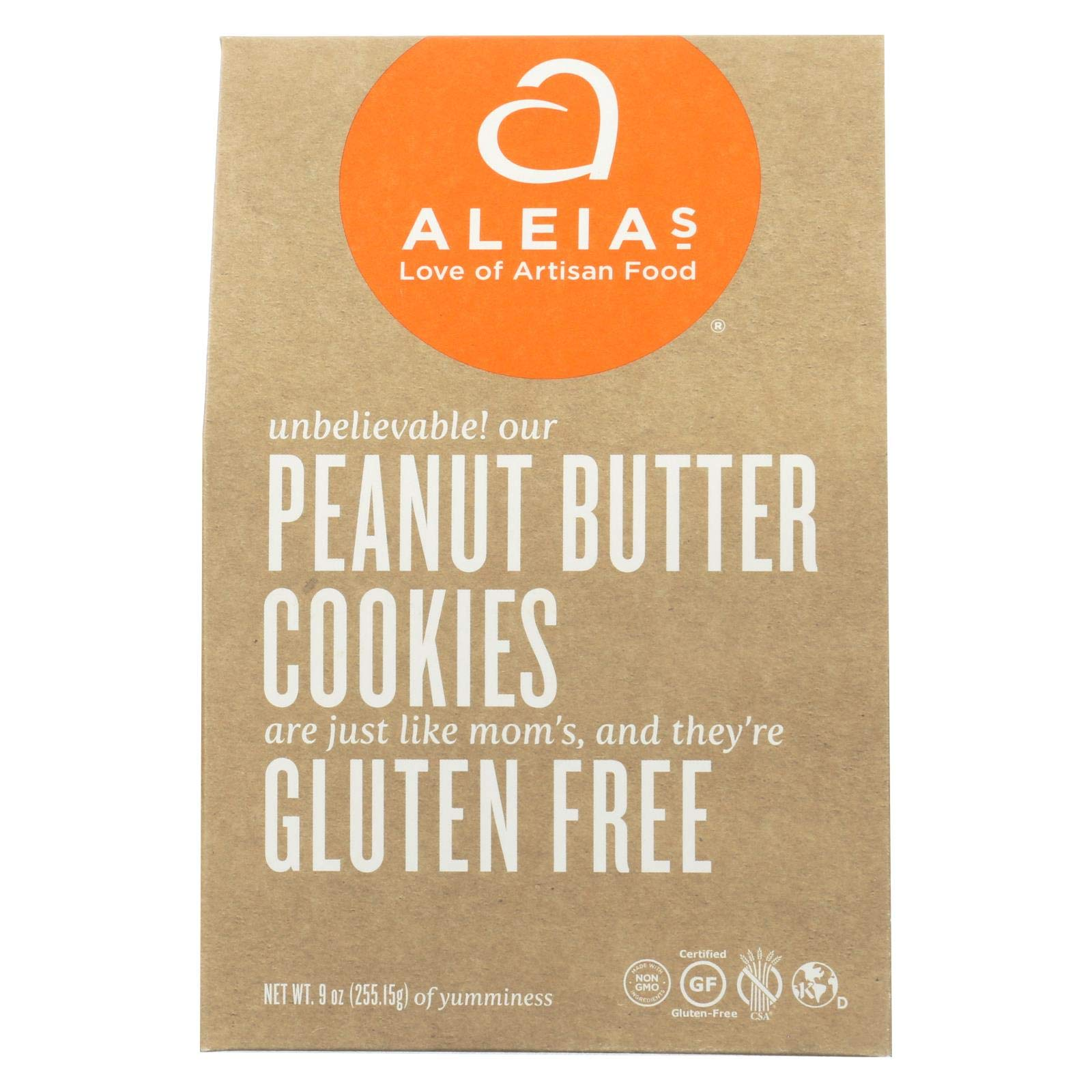 Aleias Gluten Free Peanut Butter Cookies, 9 Ounce - 6 per case. by Aleias