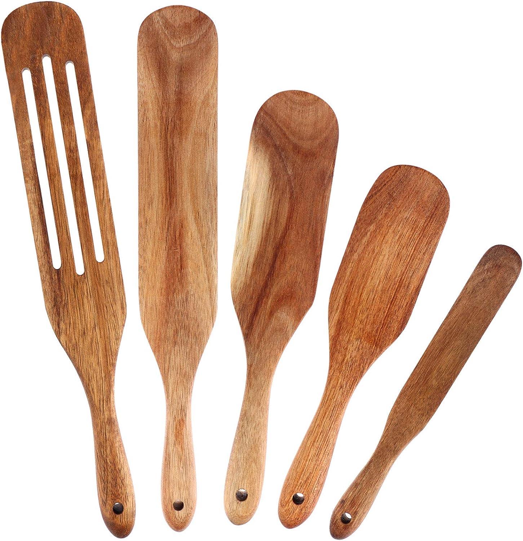 XIDAJIE 5PCS Spurtle Set Wooden Spurtles Kitchen Tools Natural Teak Kitchen Cooking Utensil Salad Blender Heat Resistant Non Stick Wood Cookware Cooking Set