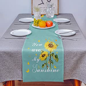 COLORSUM Linen Burlap Table Runner Dresser Scarves Rustic Sunflower Butterfly You are My Sunshine Emerald Home Dining Table Decor Table Runner Mat for Farmhouse, Wedding, Party, BBC- 13x108 in