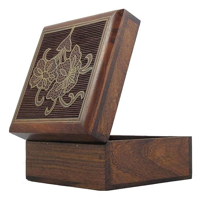 Amazon.com: Joyero de madera hecho a mano arte floral Inlay ...