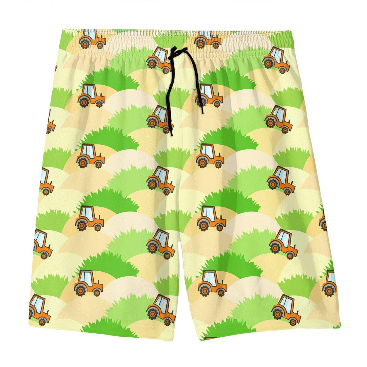 Polyester Tractors Pattern Board Shorts with Pockets GI80@KU Teen Casual Swim Trunks