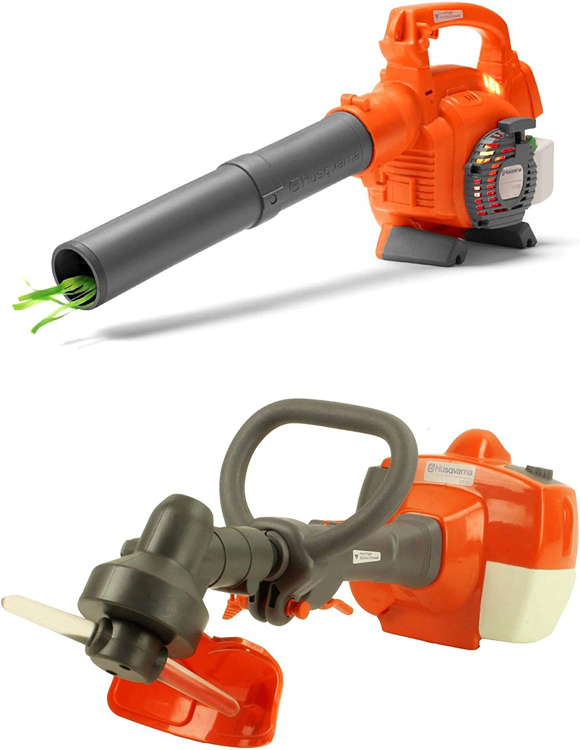 Husqvarna Kids Battery Operated Toy Leaf Blower Toy Lawn Weed Trimmer w Sound