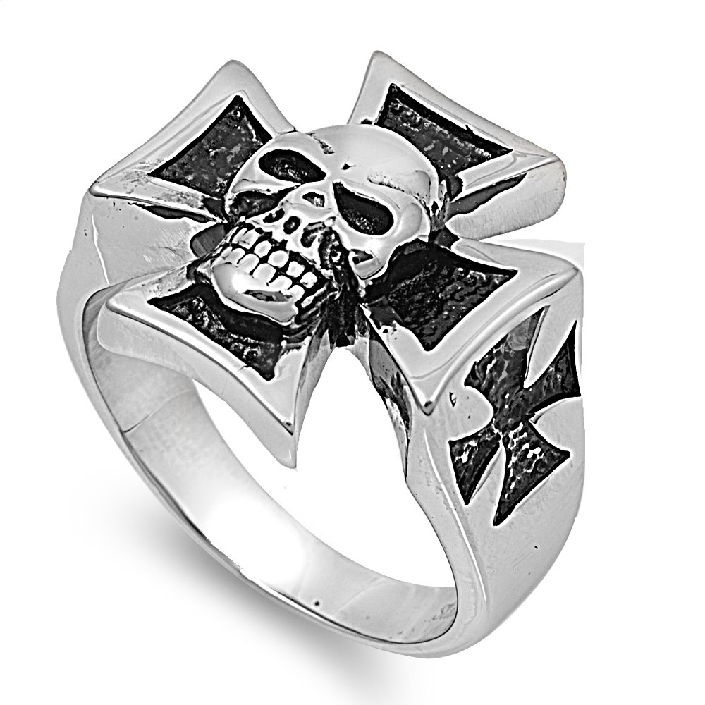 Stainless Steel Biker Style Iron Cross And Skull Ring Size 13