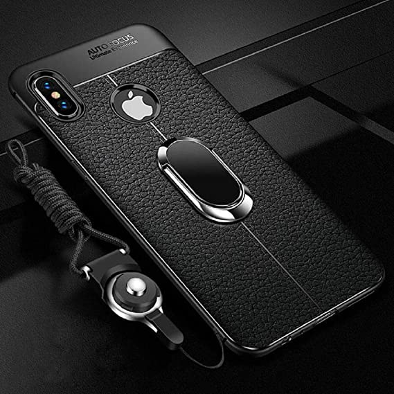 quality design 1a6c3 49d64 1 PC Soft Silicone Leather Back Cover for iPhone X XR XS Max with Magnetic  Car Holder Case for iPhone 7 8 Plus 6 6S Plus (Black, iPhone 6 6S Plus)