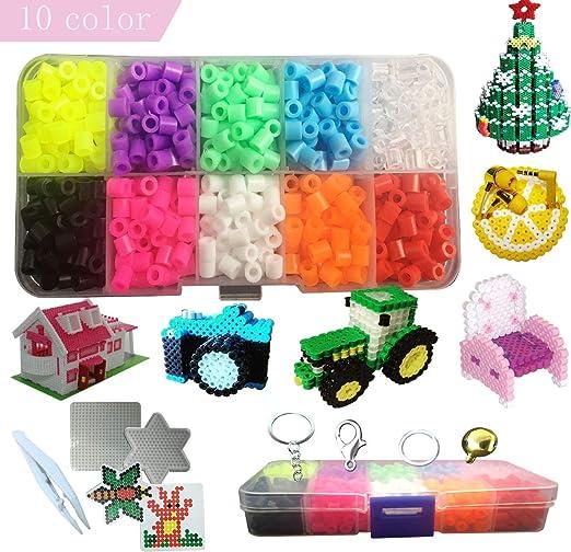 MOLYHUA Lote de 1100 pcs Abalorios Perler,de los Granos DIY de Perler Caja de fusibles Conjunto de Perlas de 5 mm Hama Beads, 10 Color: Amazon.es: Hogar