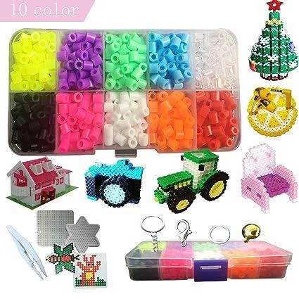 amazon com 3d perler beads kit 1100 pcs fuse bead set 10 colors