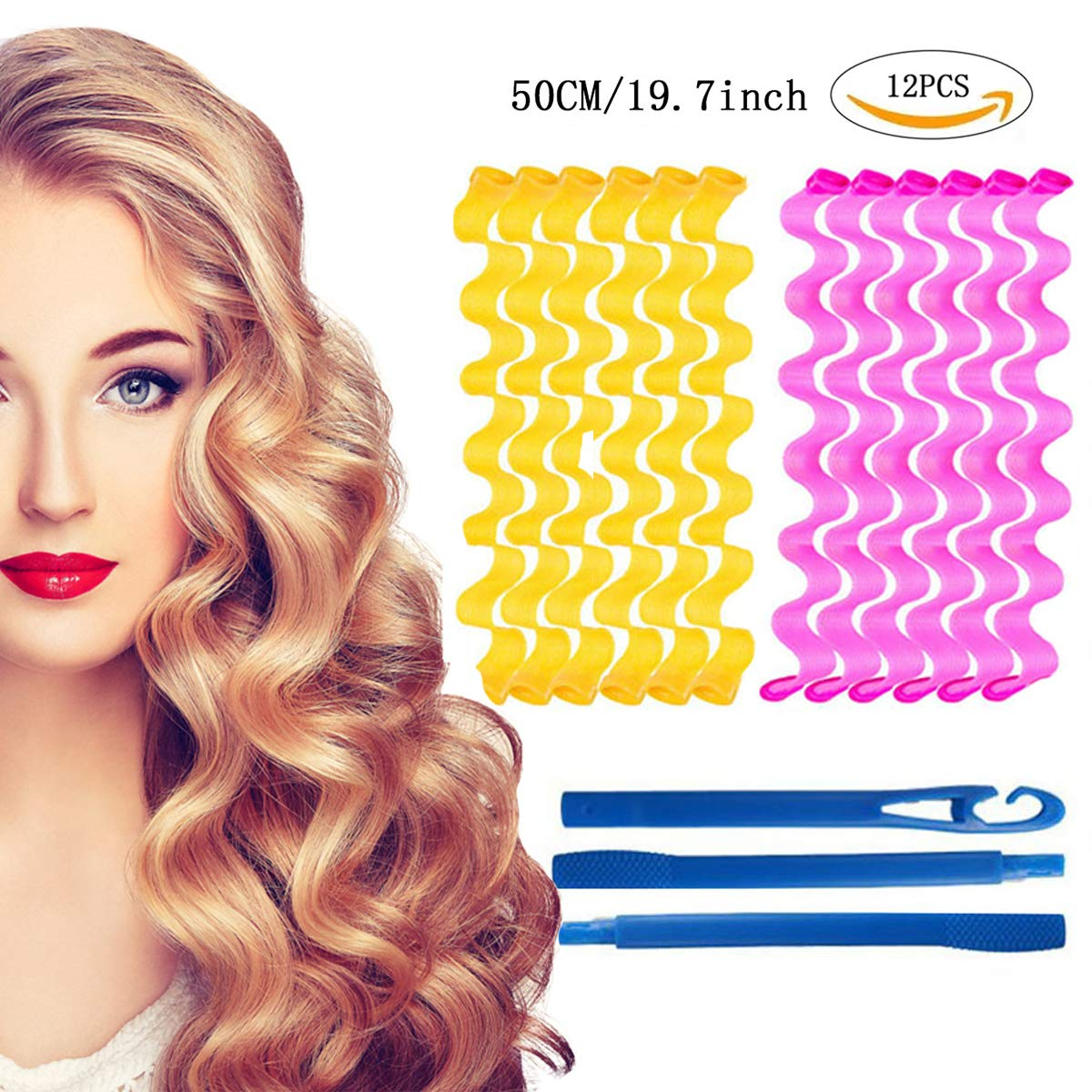 Long Hair Curler Wave Formers, Heatless Water Ripple Hair Curlers Silicone Soft Overnight Curler DIY Hair Style Tools Set (Bonus: 3 Pcs Hooks)(50cm/12pcs) by Dualshine